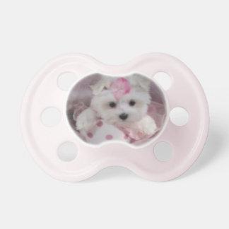 Pacificador maltés de la niña del perrito de la ta chupetes para bebés