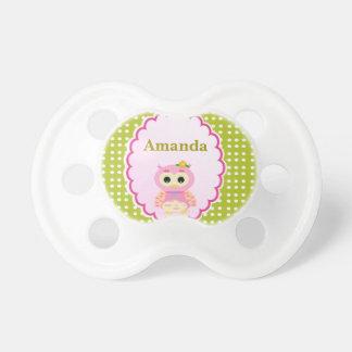 Pacificador moderno de la niña del búho lindo de chupetes para bebes