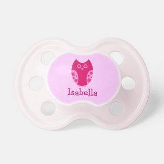 Pacificador personalizado búho rosado chupete de bebe