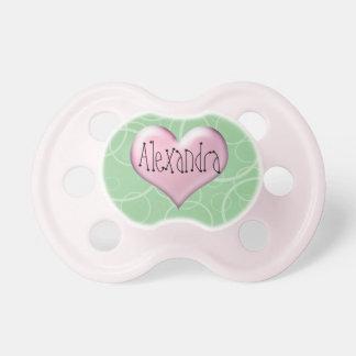 Pacificador personalizado corazón rosado y verde b chupetes para bebes
