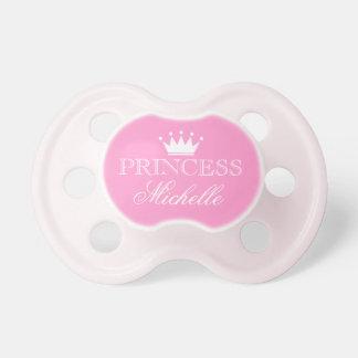 Pacificador personalizado de la princesa con nombr chupetes para bebés
