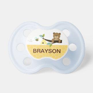 Pacificador personalizado del bebé del oso de miel chupetes de bebe