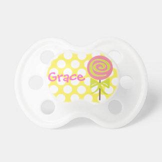 Pacificador personalizado del Lollipop del lunar Chupete