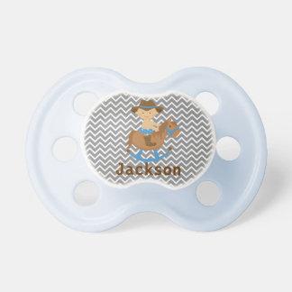 Pacificador personalizado del vaquero con el nombr chupetes de bebe