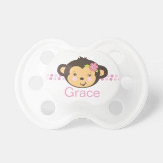 Pacificador personalizado el | del mono del chica chupetes de bebe