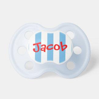 Pacificador personalizado rayado blanco y azul roj chupetes de bebé