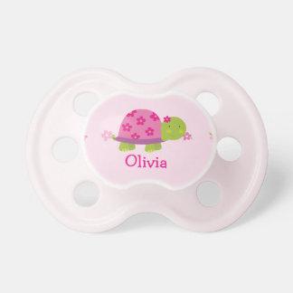 Pacificador personalizado rosa lindo de la tortuga chupetes de bebe