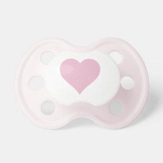 Pacificador rosado del corazón chupete