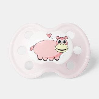 Pacificador rosado del hipopótamo chupete de bebe