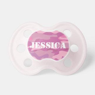 Pacificador rosado femenino del bebé del camuflaje chupetes de bebé