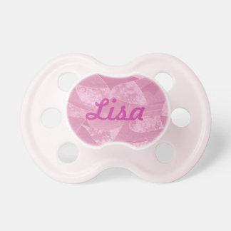 Pacificador rosado personalizado del vidrio de la chupete de bebé