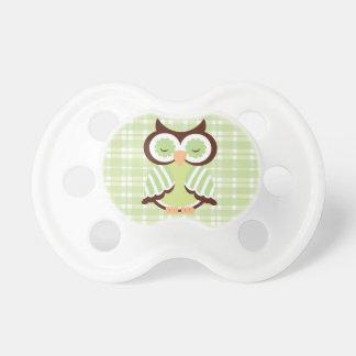 Pacificador verde del bebé del búho chupetes