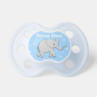Pacificadores azules personalizados del elefante chupetes de bebe