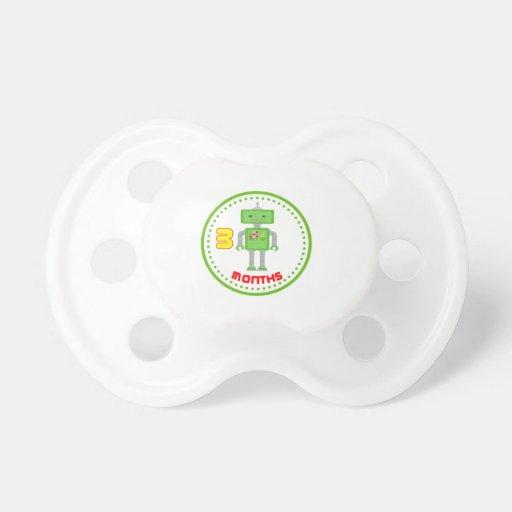 # pacificadores verdes del bebé del robot del mes chupetes de bebe