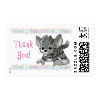 Pacified Kitten Thank You Postage Stamps