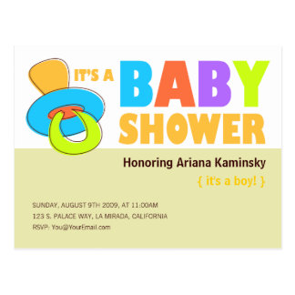 Pacifier Baby Shower Invitation Postcard