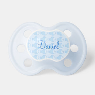 Pacifier fish in the sea and blue bottom with name
