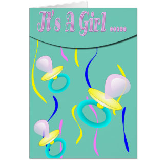 Pacifier It's A Girl Card