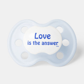 Pacifier Love is the Answer Blue on White