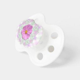 Pacifier - Medium Pink Cosmos on Lace & Lattice
