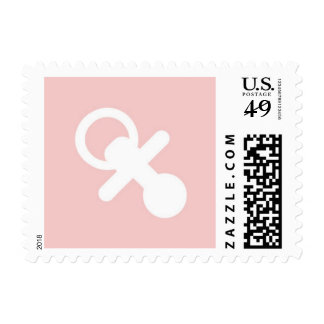 Pacifier Pink and White // Baby Shower Stamp