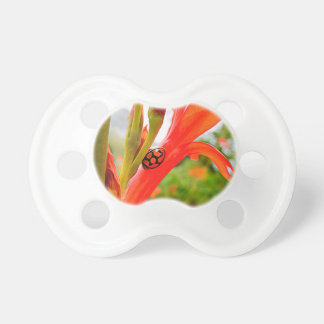 pacifier red flower and ladybug BooginHead pacifier