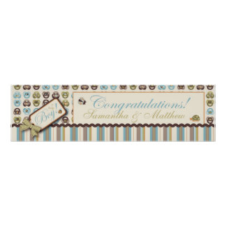 Pacifier & Stripe Baby Shower Banner Boy Posters
