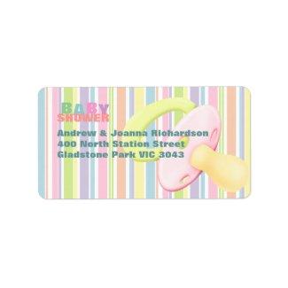 Pacifier & Stripes Baby Shower Address Label label