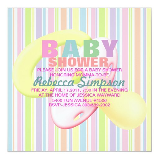 Pacifier & Stripes Baby Shower Invitation