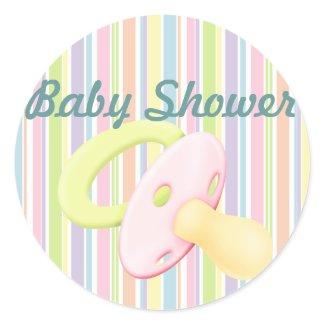 Pacifier & Stripes Baby Shower Sticker/seal sticker