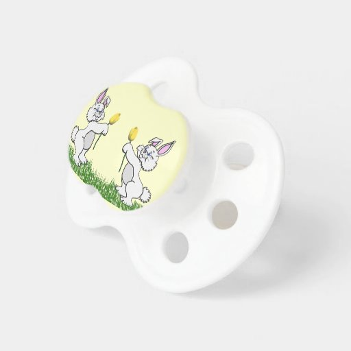 Pacifier - Two Bunnies & Tulips