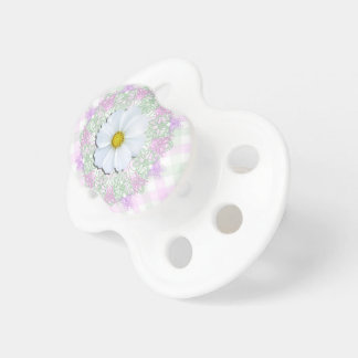 Pacifier - White Cosmos on Lace & Lattice