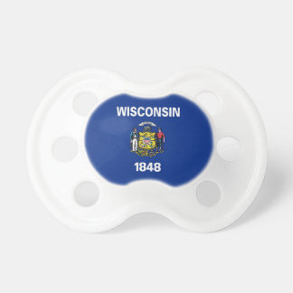 Pacifier with flag of Wisconsin, U.S.A.