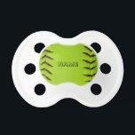 "Pacifier with softball<br><div class=""desc"">Personalized pacifier with image of softball</div>"