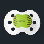 "Pacifier with softball<br><div class=""desc"">Personalized pacifier with image of softball</div>"