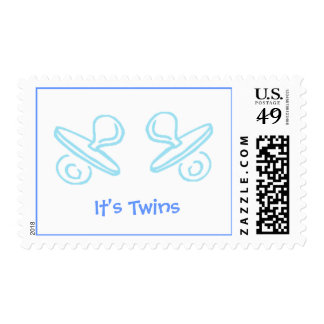 pacifiers  blue, It's Twins - Postage Stamp