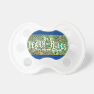 pacifiers with photo of peacock feathers & saying
