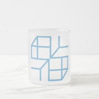 """Pack frosted """"Blue Shape """" 10 Oz Frosted Glass Coffee Mug"""