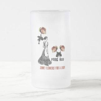 Pack glass frozen Vintage Paris 1920 Frosted Glass Beer Mug
