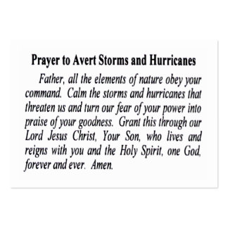 Pack Of 100 Anti-Hurricane Prayer Cards Large Business Cards (Pack Of 100)