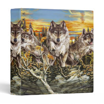 Pack of wolvesrunning 3 ring binder