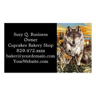 Pack of wolvesrunning business card