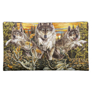 Pack of wolves running cosmetic bag
