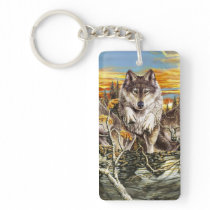 Pack of wolves running keychain