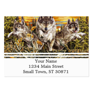 Pack of wolvesrunning large business card