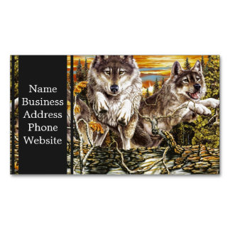 Pack of wolvesrunning magnetic business card