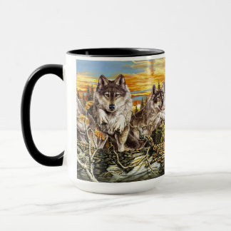 Pack of wolvesrunning mug