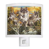 Pack of wolves running night light