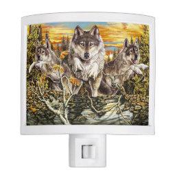 Pack of wolvesrunning night light