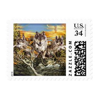 Pack of wolvesrunning postage